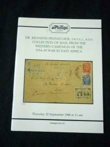 PHILLIPS AUCTION CATALOGUE 1988 MAIL FROM WAR IN EAST AFRICA 'PENNYCUICK'