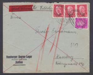 Germany Sc 372,386 (3) on 1910 Special Delivery cover, oval Railway cancels