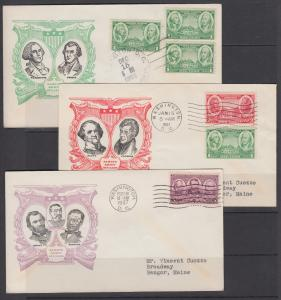 US Planty 785-794-8 FDC. 1937 Army-Navy cplt set, 10 Matched Linprint Cachets