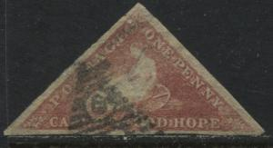 Cape of Good Hope 1857 1d rose used with nice margins