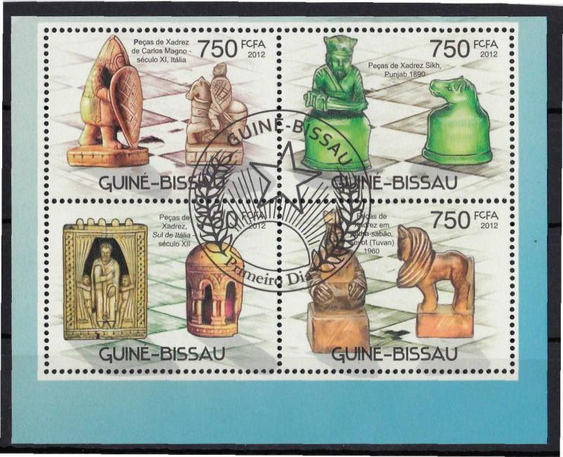 GUINE BISSAU SHEET USED CHESS