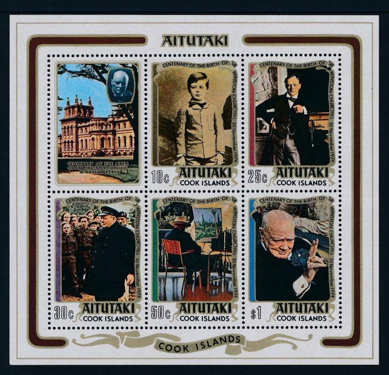 1974 AITUTAKI .....WINSTON CHURCHILL .....BIRTH CENTENARY.... MINISHEET ....MNH