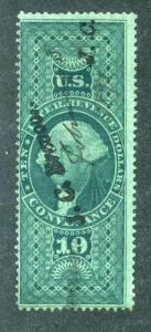 R94c - $10 - Conveyance - green - used - h/s and ms cancel