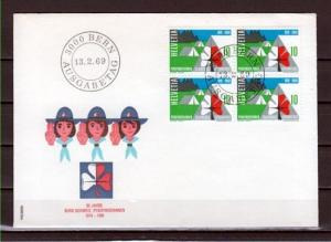 Switzerland, Scott cat. 495 only. Girl Scouts Block of 4 on a First day cover. ^