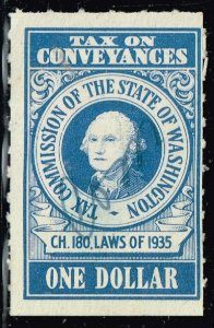 US TAX STAMP STATE OF WASHINGTON ONE DOLLAR ULTRA CONVEYANCES TAX PAID STAMP