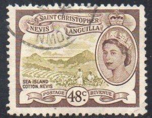St Christopher, Nevis & Anguilla 1954 48c Sea island cotton, Nevis  used
