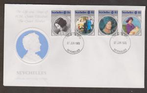 SEYSCHELLES FDC - Queen Mother's 85th Birthday Issue