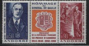 ANDORRA, 217-218, MNH, 1972, DE GUAULLE AS COPRINCE OF ANDORRA