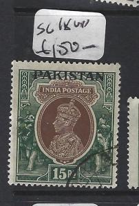 PAKISTAN (P1103B) ON INDIA KGVI  SG 18  15R   VFU