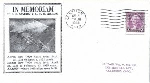 USS Macon / USS Akron In Memoriam Cover - Akron OH cancel