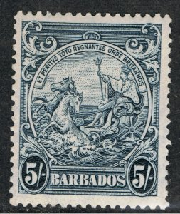 BARBADOS 1938 - 47 5/- BLUE SEAL OF THE COLONY