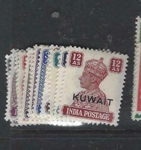 KUWAIT   (P2804B) ON  INDIA  KGVI  SET TO 12A  SG 52-62  MOG