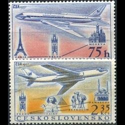 CZECHOSLOVAKIA 1957 - Scott# C45-6 Planes Set of 2 LH
