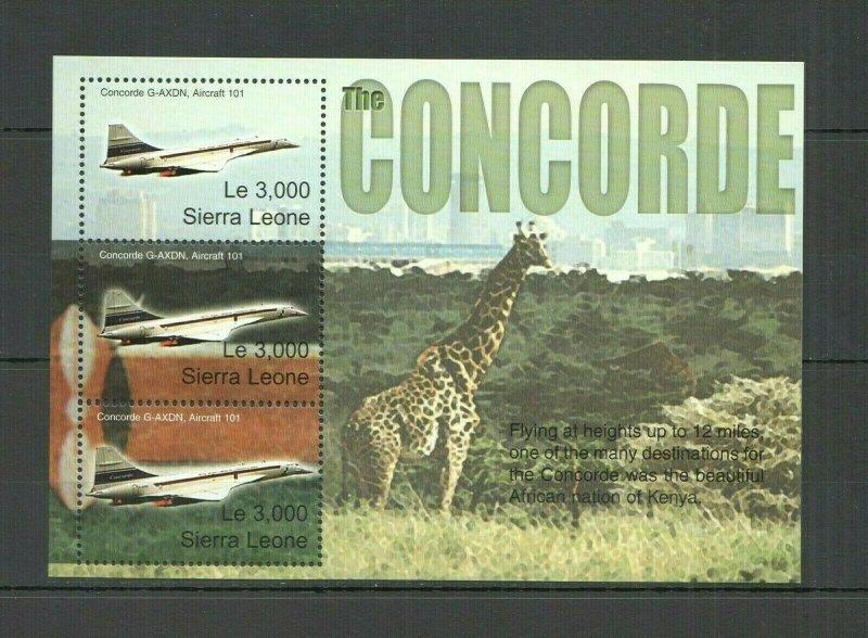 AB0267 SIERRA LEONE TRANSPORT AVIATION CONCORDE ANIMALS GIRAFFES KB FIX