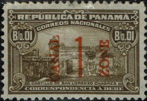 CANAL ZONE #J7 1915 1c RED CANAL ZONE OVERPRINT ON PANAMA POSTAGE DUE ISSUE-USED