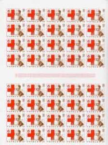 Tuvalu 1988 Red Cross 15c complete imperf sheet of 40 (2 ...