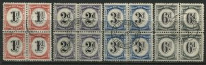 South West Africa 1931 1d, 2d, 3d, and 6d Postage Dues in used blocks of 4