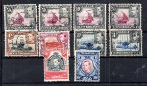 British KUT 1938 high values with perf varieties SG144-149 WS15927