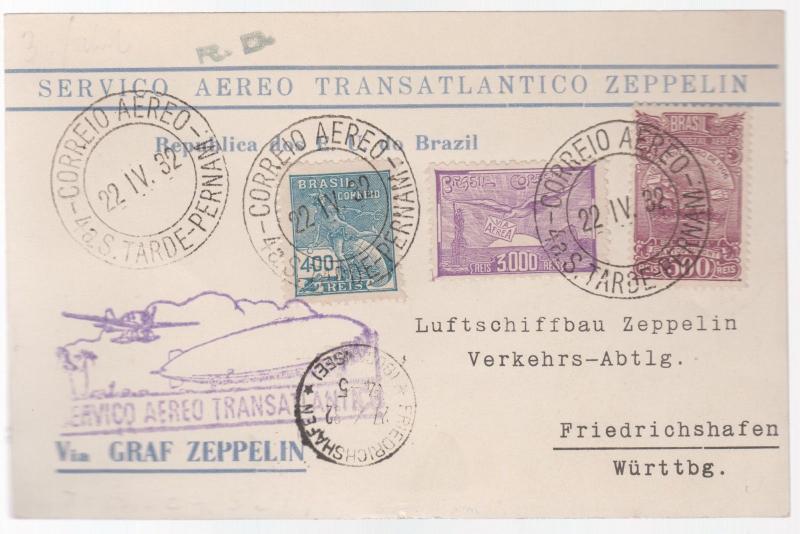 1932 Brazil Graf Zeppelin postcard cover to Zeppelin Works in Germany