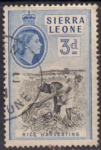 Sierra leone 1956 - 61 QE2 3d Rice Harvesting SG 214 ( K487 )