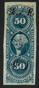 Doyle's_Stamps: Super Crisp! Used 50c Imperf Conveyance Revenue, Scott #R54a