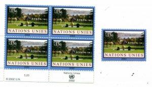 United Nations Geneva Scott #385 Palais des Nations. Block and Single.MNH.