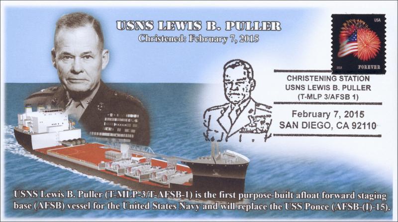 2015, USNS Lewis B Puller, Christening Station, San Diego CA, Pictorial Postmark