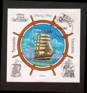 TANZANIA   1994   SAILING SHIPS boats Souvenir Sheet used / cancelled