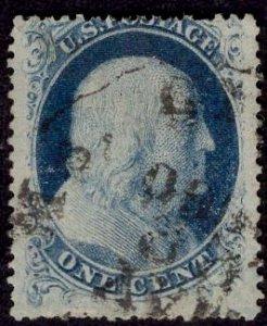 US Stamp #20 1c Franklin Type II w/ Paid Cancel. SCV $260