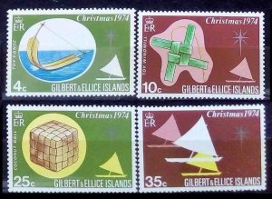 1974 Gilbert and Ellis Islands 225-228 Ships with sails