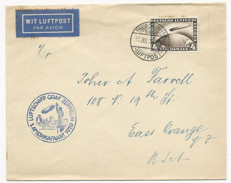 Germany Scott #C37 on Graf Zeppelin Cover Air Mail to USA July 31, 1929