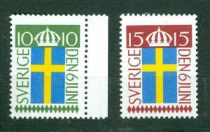 Sweden. 2 Stamps 1955.  10 Ore,15 Ore. Mnh.Flag National Day June 6