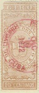 DEPENDENCIAS ESPAÑOLAS - 1868 Sello Fiscal (GIRO) 10 centimos - usado (defect.)