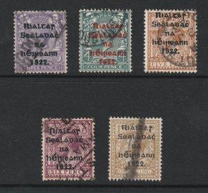 Ireland x 5 GB KGV with 1922 overprints