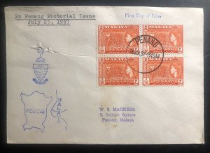 1957 Penang Malaya First Day Cover FDC 2c Pictorial Stamp Issue