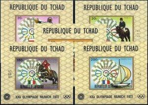 1972 Chad Olympics Munich, Winners, 5 Single Sheets VF/MNH! only 15%! CAT 220$