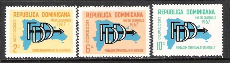 DOMINICAN REPUBLIC 633-35 MOG MAP S117
