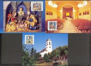 Liechtenstein 1998 Christmas 3 Maxi Cards FDC