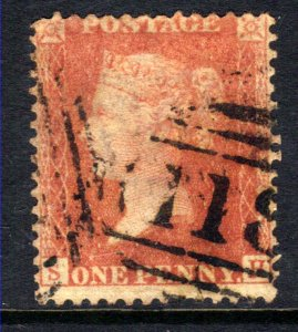 GB 1856 – 58 QV 1d Red Large Crown Perf 14 ( S & H ) 118 Pmk  ( E486 )