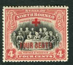 NORTH BORNEO; 1918 early Red Cross FOUR CENTS surcharge Mint hinged 4c.