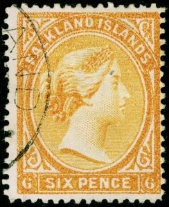 FALKLAND ISLANDS SG33x, 6d orange-yellow, FINE USED, CDS. Cat £55. WMK REV.
