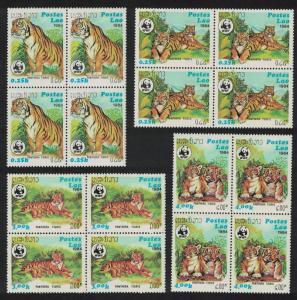 Laos WWF Tiger 4v Blocks of 4 SG#704-707 SC#517-520 MI#706-709 CV£40+