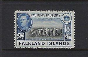 FALKLAND IS. SCOTT #87 1936-46 GEORGE VI 2 1/2P (ULTRA/BLACK) -MINT HINGED