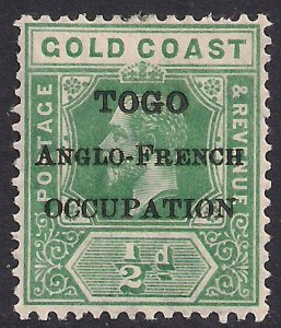 Toga 1916 - 20 KGV 1/2d Green Anglo French Ovpt SG H47  ( J914 )