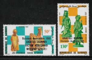 Djibouti #542-3 MNH Set - World Chess Championships