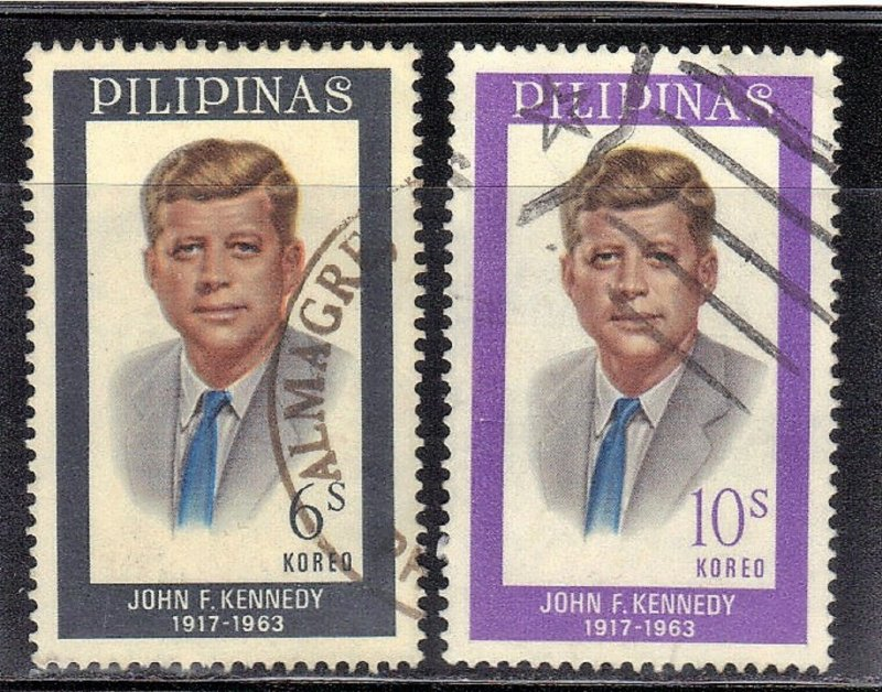 PHILIPPINES SC # 925-26 **USED** 1965  6s+10s JFK  SEE SCAN