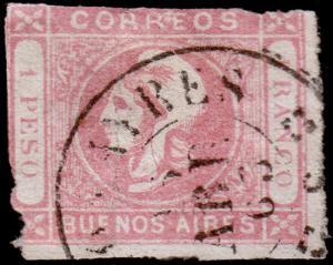 Argentina - Buenos Aires Scott 10 (1862) Used H G-F, CV $150.00 C