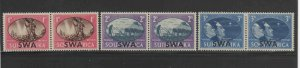 SOUTH WEST AFRICA #153-155  1945  PEACE ISSUE    MINT VF LH O.G