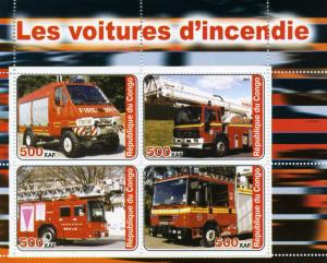 FIRE ENGINES Sheet (4) Perforated Mint (NH)