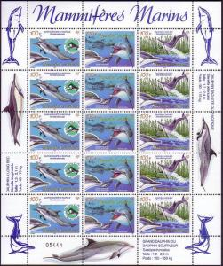 New Caledonia Dolphins Sheetlet of 5 sets SG#1345-1347